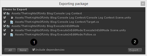 Export package window