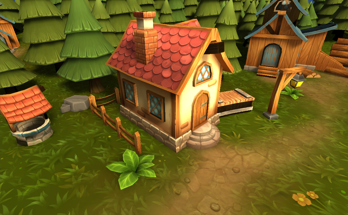 3D model house village with trees in the background in Unity