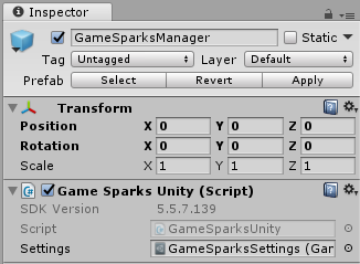 GameSparksManager inspector window.