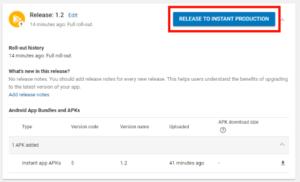 Google Play Instant Release Menu